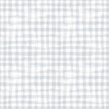 seamless pattern with square hand drawn texture. Grey checkered tablecloth. Illustration