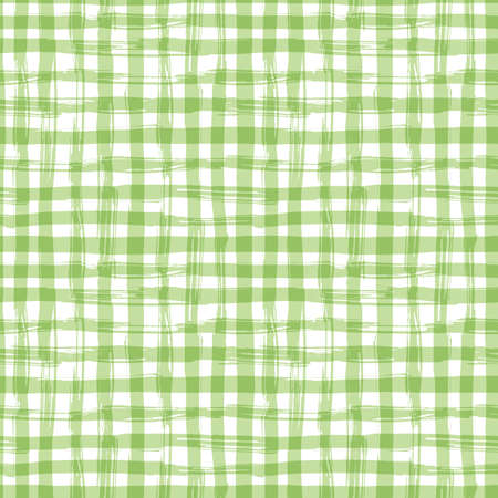 gingham pattern: seamless pattern with square hand drawn texture. Green checkered tablecloth.