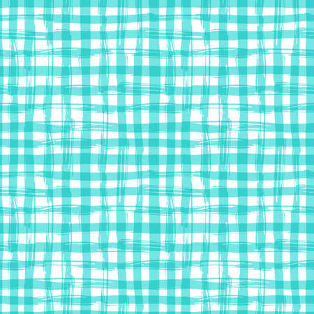 napkin: seamless pattern with square hand drawn texture. Aquamarine checkered tablecloth. Illustration