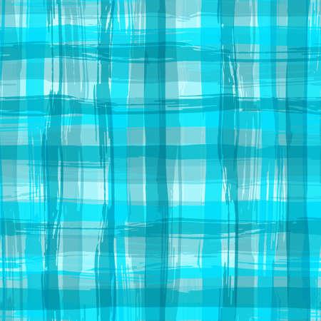 アクアマリン: Vector seamless pattern with square hand drawn texture. Aquamarine checkered tablecloth.  イラスト・ベクター素材
