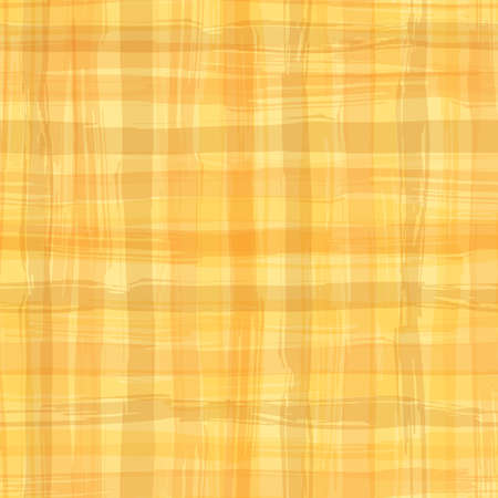 Vector seamless pattern with square hand drawn texture. Yellow checkered tablecloth.