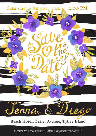 date: Wedding invitation cards with watercolor flowers elements and calligraphic letters. Save the date design. Hand drawn vector illustration.