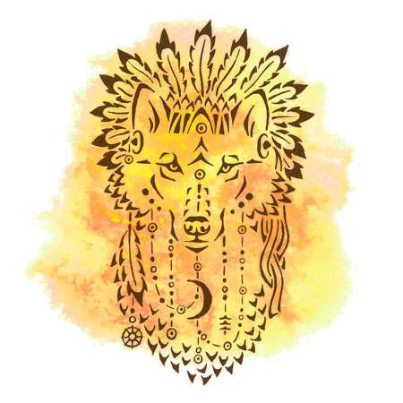 Wolf in Kriegsmütze, von Hand gezeichnet Tier Illustration, native american Poster, T-Shirt Design Illustration