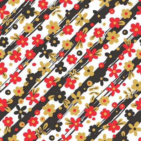 color design: Seamless pattern with flowers on striped background. Vector illustration.