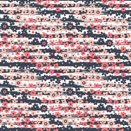 vintage patterns: Seamless pattern with flowers on striped background. Vector illustration.