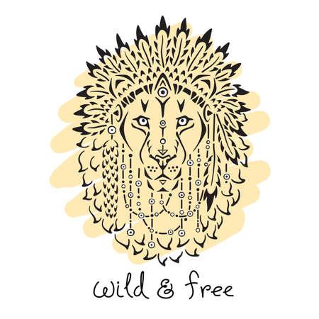 lion dessin: Lion en bonnet de guerre, dessiné à la main illustration animale, affiche natif américain, design de t-shirt