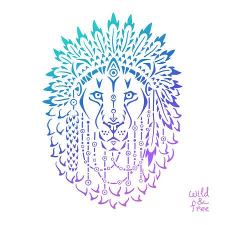 war decoration: Lion in war bonnet, hand drawn animal illustration, native american poster, t-shirt design