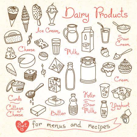 Définissez des dessins de lait et de produits laitiers pour concevoir des menus, des recettes et des emballages de produits. Illustration vectorielle