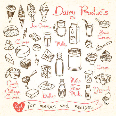 Set drawings of milk and dairy products for design menus, recipes and packages product. Vector Illustration. Vettoriali