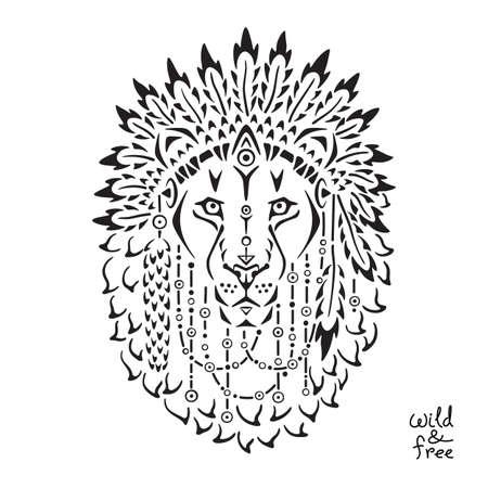 indian tribal headdress: Lion in war bonnet, hand drawn animal illustration, native american poster, t-shirt design