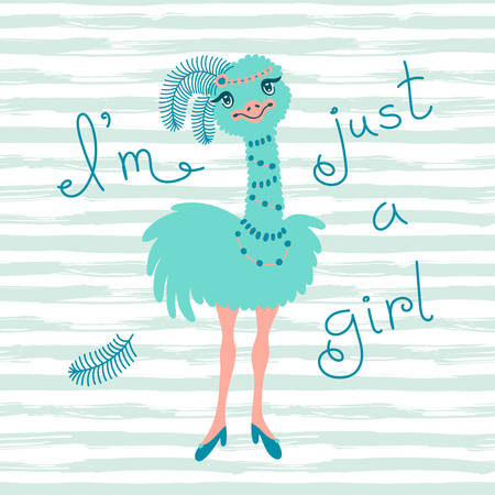 ostrich chick: Fashionable ostrich chick. T-shirt design vector illustration. Illustration
