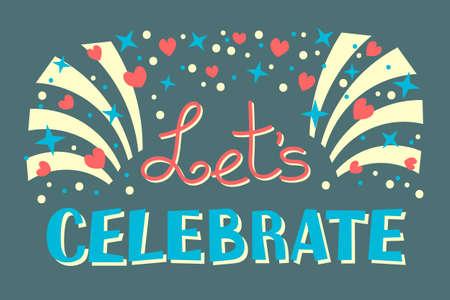 レッツ パーティー タイムにお祝いの招待状の背景ベクトル イラスト