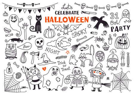 calabazas de halloween: Dibujos de Halloween vectorial Conjunto de elementos de dise�o