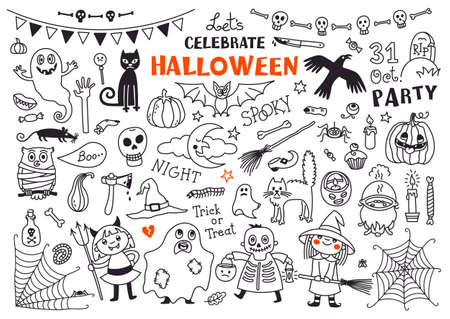 Halloween Drawings Vector Set  of  Design Elements Stock Illustratie
