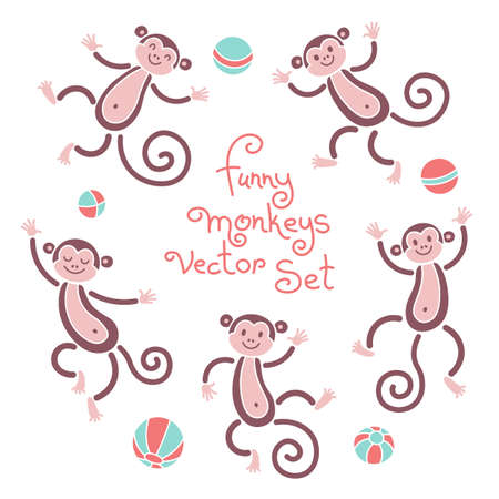 dancing people: Funny monkeys vector isolated set of illustrations. Lovely monkey and balls elements for design. Illustration