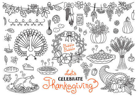 cornucopia: Lets celebrate Thanksgiving Day doodles set. Traditional symbols - thanksgiving turkey, pumpkin pie, corn, cornucopia, wheat. Freehand vector drawings collection isolated.