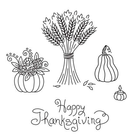 sheaf: Doodle Thanksgiving Vintage Sheaf of Wheat and Pumpkin Freehand Vector Drawing Isolated.