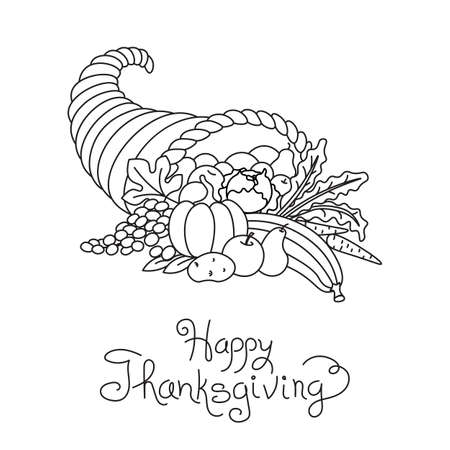 Doodle Thanksgiving Cornucopia Freehand Vector Drawing Isolated. Vectores