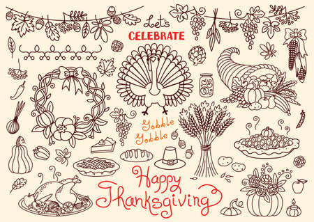 wheat isolated: Lets celebrate Happy Thanksgiving doodles set. Traditional symbols - thanksgiving turkey, pumpkin pie, corn, cornucopia, wheat. Freehand vector drawings collection isolated. Illustration