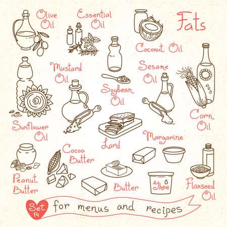 aceite de cocina: Dibujos Set de leche y productos l�cteos para los men�s de dise�o, recetas y paquetes de productos. Ilustraci�n vectorial Vectores
