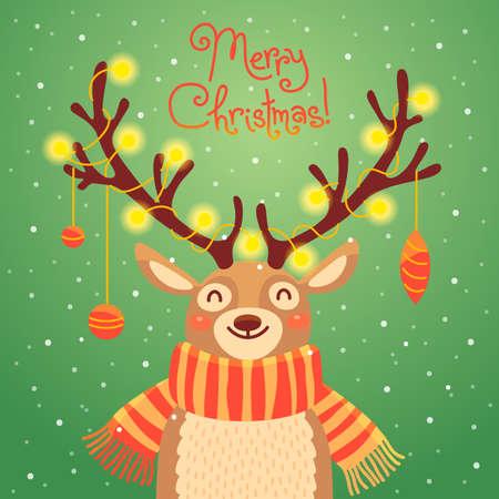 renna: Cartolina di Natale con Babbo Natale renne. cervo cartone animato con ghirlande sulle corna e sciarpa. sfondo di Buon Natale. illustrazione di vettore Vettoriali