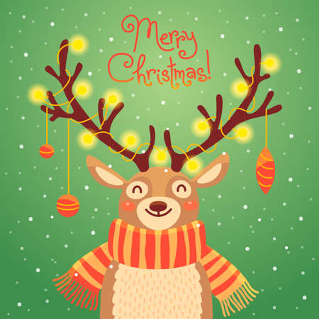 children art: Christmas card with christmas santa reindeer. Cute cartoon deer with garlands on the horns and scarf.  Merry christmas background. Vector illustration
