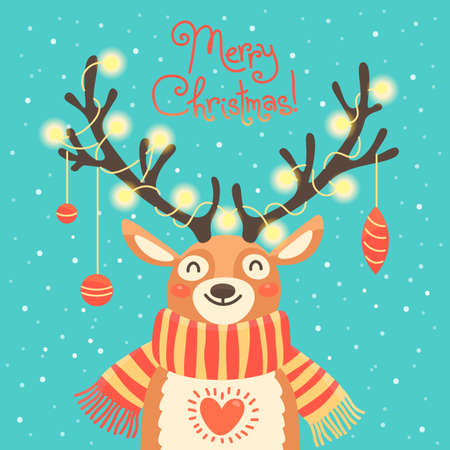 Christmas card with christmas santa reindeer. Cute cartoon deer with garlands on the horns and scarf.  Merry christmas background. Vector illustration