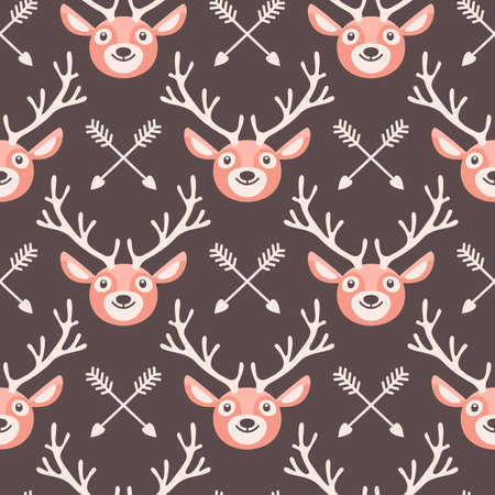 seamless patterns: Hipster seamless pattern with deer and arrows. Vector illustration. Illustration