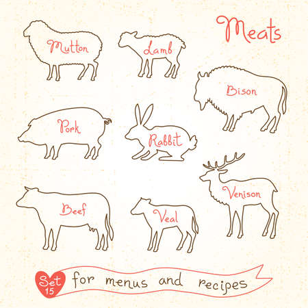 mutton: Set drawings of meat symbols, beef, pork, lamb, mutton, rabbit, bison, veal, venison, silhouettes of animals for design menus, recipes and packages product. Vector Illustration. Illustration