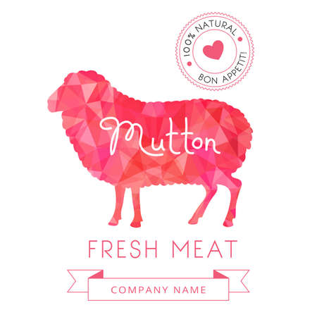 mutton: Image meat symbol mutton silhouettes of animal for design menus, recipes and packages product. Vector Illustration. Illustration
