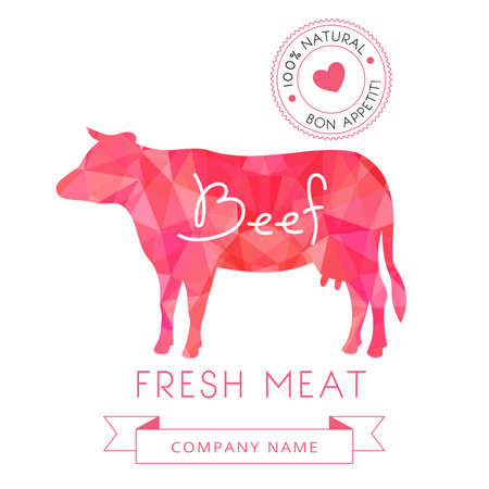 butchery: Image meat symbol beef silhouettes of animal for design menus, recipes and packages product. Vector Illustration.