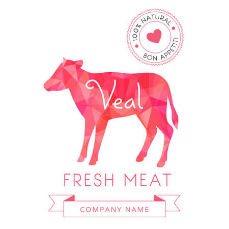 red heifer: Image meat symbol veal silhouettes of animal for design menus, recipes and packages product. Vector Illustration.