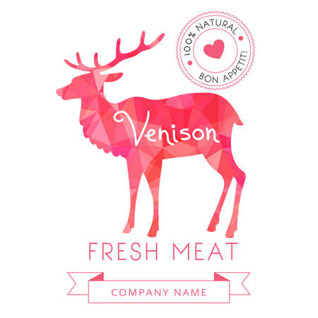 venison: Image meat symbol venison silhouettes of animal for design menus, recipes and packages product. Vector Illustration.