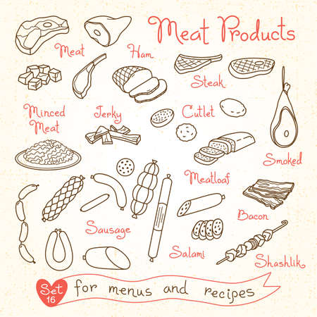 Set drawings of meat products ham, steak, minced, jerky, cutlet, smoked, meatloaf, sausage, bacon, salami for design menus, recipes and packages product. Vector Illustration. Vettoriali