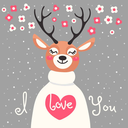 declaration: Valentine card with  deer and  declaration of love. Vector illustration.