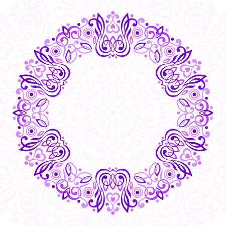 purple flowers: Abstract Ornate Mandala. Decorative frame for design. illustration.