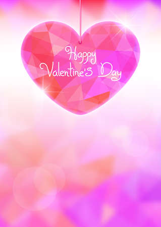 day light: Valentines Day card with precious heart  on light effect background. illustration.