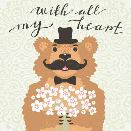 With all my heart. Hipster bear with a bouquet of flowers. Vintage card in cartoon style. Vector illustration. Illustration
