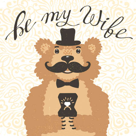 postcards: Be my wife. Hipster bear with an offer of marriage. Vintage card in cartoon style. Vector illustration.