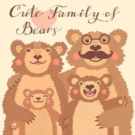 couple embrace: Cute card with a family of brown bears. Dad hugs mother and children. Vector illustration.