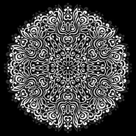 Estratto mandala fiore. elemento etnico decorativo per la progettazione. Illustrazione vettoriale. Vettoriali