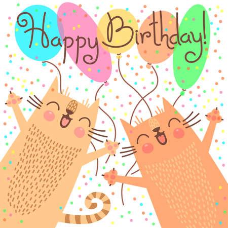Cute szczęśliwy kartka urodzinowa z zabawnymi kociąt. ilustracji wektorowych