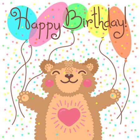 Cute Happy Birthday Card With Funny Bear Vector Illustration