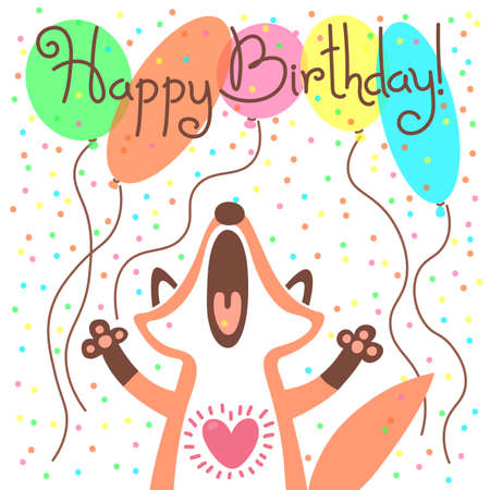Cute happy birthday card with funny fox. Vector illustration Vectores