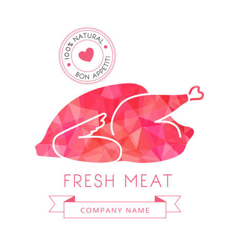 carcass meat: Image carcass chicken or turkey meat of poultry for design menus, recipes and packages product. illustration. Illustration