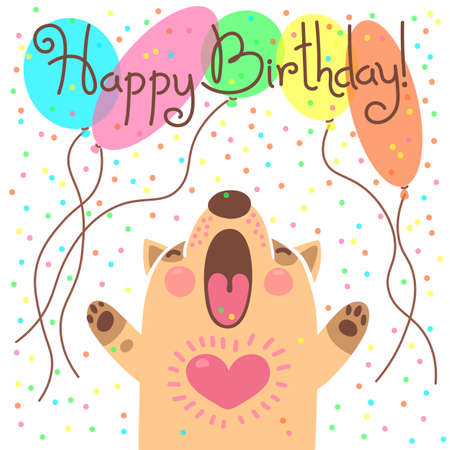 Cute Happy Birthday Card With Funny Puppy Illustration Royalty Free