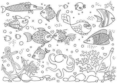 Coloring of underwater world. Aquarium with fish, octopus, corals, anchor, shells, stones, bottle with sailboat. Vector illustration.