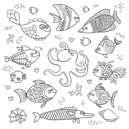 lijntekening: Set leuke vis en octopus voor het ontwerp van kind kleuren. Vector illustratie. Stock Illustratie