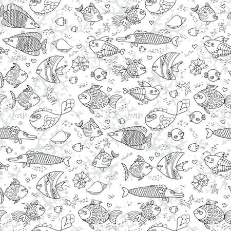 Background underwater world. Seamless pattern with cute fish, shells, corals. Vector illustration. Illustration