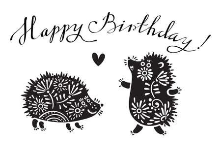 Grappige vector illustratie met egels en belettering tekst - Gelukkige Verjaardag.